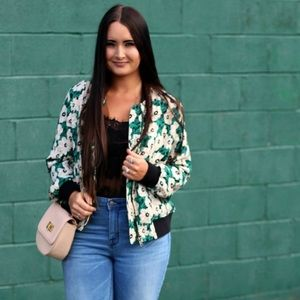 Floral Bomber Jacket Green Zip Who What Wear 2X